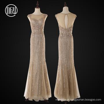 Vestidos de noiva bordados frisados pesados do desenhador da celebridade do desenhador