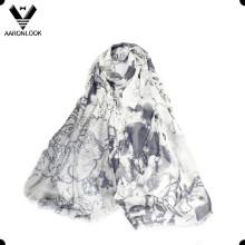 100% Модальный Красивый стиль живописи Китайский монохромный шарф