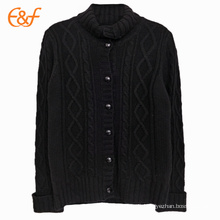 Black Turtleneck Sweater Cable Knit Cardigan For Mens