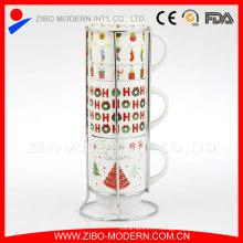 Tasses à café empilables décoratives en gros avec rack