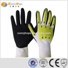 SUNNY HOPE 13 gauge Nitrile gants d'impact sablonneux avec des gants de travail TPR
