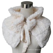 Lady Fashion Polyester Velvet Faux Fur Scarf Shawl (YKY4404)