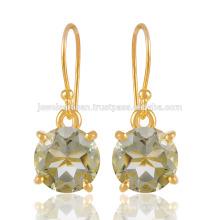Natural Green Amethyst Gemstone com prata esterlina 925 e 18K Gold Vermeil Jewelry