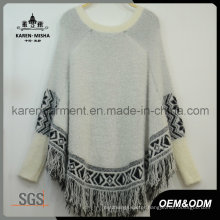 Fringed Aztec Knit Fluffy Poncho Latest Women Sweater Design