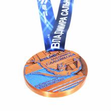 Blue glitter enamel raised metal swim medal