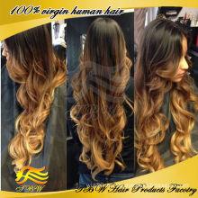 100% handgebundene volle Spitze ombre Farbe für schwarze Frau remy brasilianische menschliche reine Haarperücke