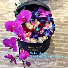 Luxury flower packaging popcorn style paper flower box, carton flower boxes with ribbon,  cardboard paper gift roses packaging