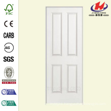 30 in. x 80 in. Smooth 4-Panel Hollow Core Primed Composite Single Prehung Interior Door