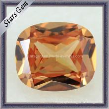 High Grade Rectangle Shape Dark Champagne CZ Stone Cubic Zirconia