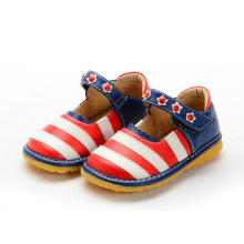 New Baby Girl Red White Strips Navy Heel Squeaky Shoes