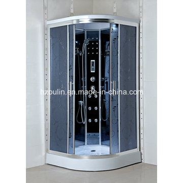 Shower Cabin with Acid Design Grey Glass