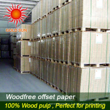 Papier d'impression offset libre de bois enduit de pulpe de bois de 100% dans la bobine