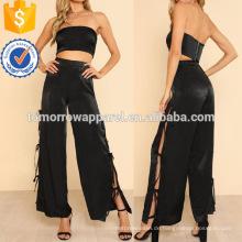 Solid Crop Bandeau Top & gebundene Seite Hose Set Herstellung Großhandel Mode Frauen Bekleidung (TA4090SS)