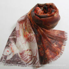 New design pretty major style Digital printing 100% wool shawl