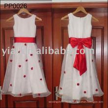 PP0026 La muchacha de flor caliente de la muestra verdadera viste el vestido de boda blanco y rojo de los niños para los cabritos