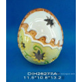 Pintado a mano en forma de huevo de cerámica Tealight Candle Holder