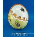Bougeoir en céramique en forme d'oeuf peint à la main