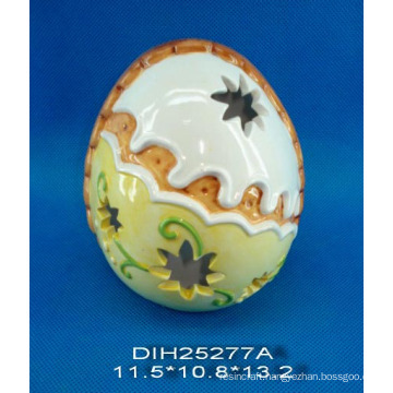 Hand-Painted Egg-Shaped Ceramic Tealight Candle Holder