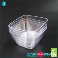 USA e getta di plastica Dessert Bowl Square Mini