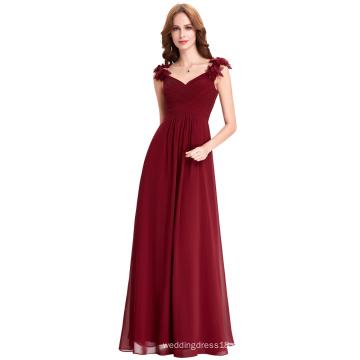 Starzz vino rojo largo gasa vestidos de baile baratos piso palabra de longitud vestido de dama de honor formal vestido de borgoña ST000079-1