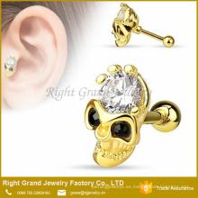 Cráneo CZ frente negro CZ Ojos chapado en oro Quirúrgico Acero cartilago Piercing