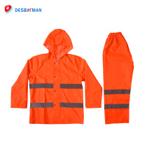 2017 Fashionable best quality professional wokring safety reflective raincoat high visibility rainsuit