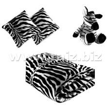 Cobertor de bebê com brinquedo de zebra e almofada