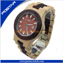 Fashion Quartz Watch Round Digital Wood Watch for Men