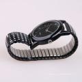 Флэш-роспись кварцевые часы мужские черные, нержавеющая сталь ремешки часы