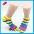 Fashion bright color ankle socks, stripe pattern for wholesale