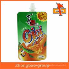 Plástico de pie hasta la jalea de fruta pico bolsa bolsa de alimentos de embalaje guangzhou fabricante