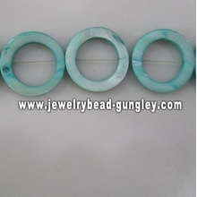 contas de shell de água fresca de forma donut azul