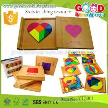 Los juguetes coloridos de madera del rompecabezas educativo preescolar bloquean el recurso de la enseñanza 8sets