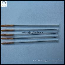 0.30X70mm Aiguilles d'acupuncture avec poignée en plastique brun avec tube de guidage sans plat (AT-3C)