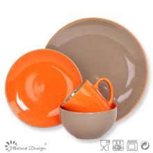 Biscuit en céramique en céramique Ensemble à dîner Orange Clolor