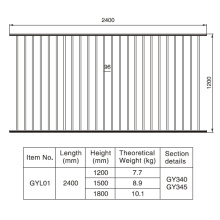 1.2/1.5/1.8m. H X 2.4 M. W Aluminum Black Fence Section