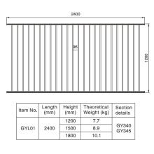 1,2 / 1,5 / 1,8 m. HX 2.4 M. W Alumínio Preto Fence Seção