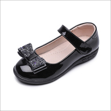 Girls Sequins Bowknot Black Leather Shoes