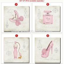 Pintura cor-de-rosa bonita da lona para a decoração do quarto da menina