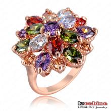 Multicolor cúbicos Zirconia flores mujer anillo de bodas (Ri-Hq0365-B)