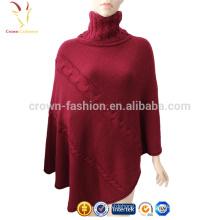 Señoras Cashmere Wool Pashmina Turtleneck Chal Poncho Sweater