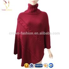 Mesdames Cachemire laine Pashmina col roulé châles Poncho chandail