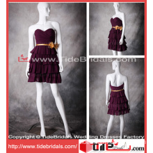 Famous Purple Party Gown Mini Tiered Short Bridesmaid Dress (10447)