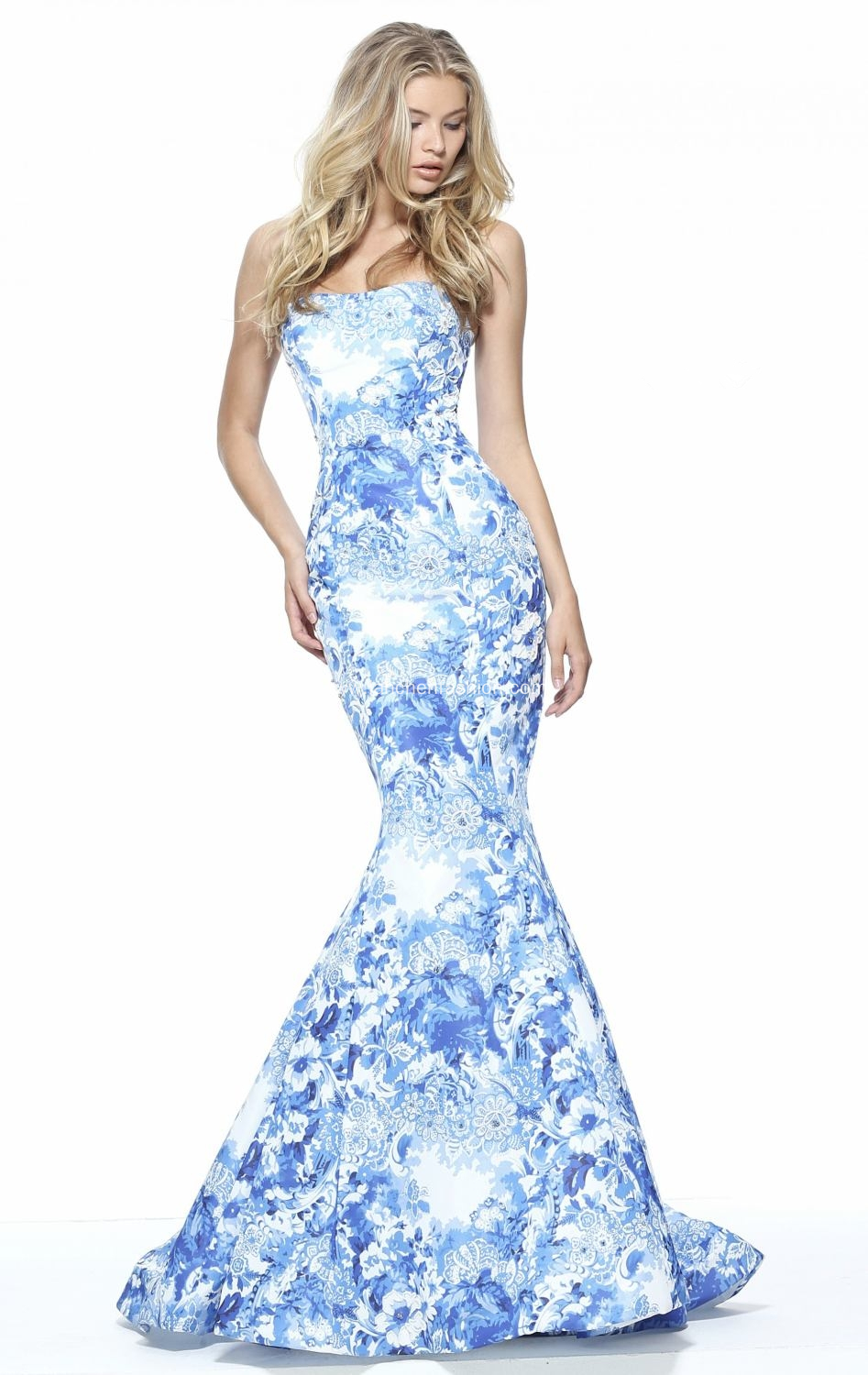 Off Shoulder Floral Mermaid Formal Prom Gowns