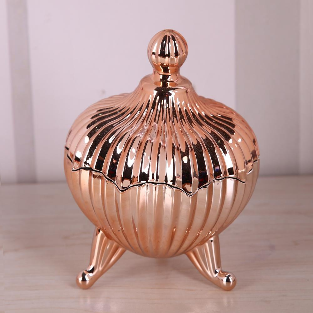 Br 1740 Coppery Glass Candy Jar With Foot Glass Candy Jar Glass Sugar Pot