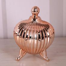 Coppery Glass Candy Jar / Zuckertopf mit Fuß