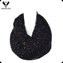Lady′s Fashion Nep Yarn Jacquard Infinity Scarf