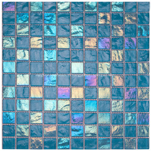 Pierre de mosaïque de piscine en verre cristal bleu
