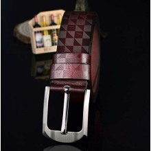 Texture leisure brown leather belt mens hand leather belts
