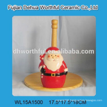 Christmas santa claus shape ceramic Christmas tissue holder